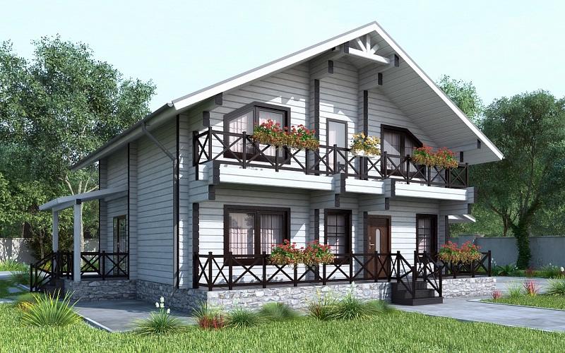 дома из клееного бруса с двумя входами